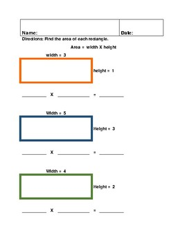 Area of a Rectangle - lengths of 5 or less - Extended Standard