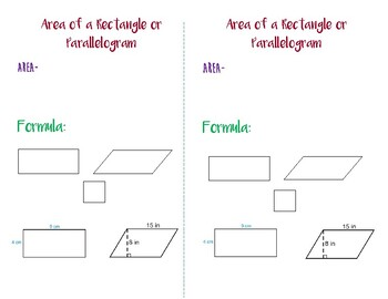 Area of a Rectangle or Parallelogram