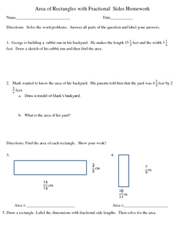 Area of a Rectangle with Fractional Sides Homework