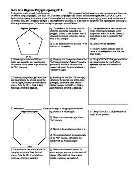Area of a Regular Polygon Spring 2014 (Editable)