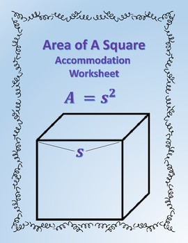 Area of a Square: Formula Accommodations Template