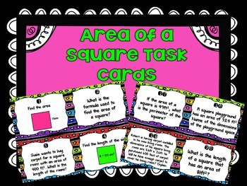Area of a Square Task Cards
