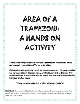 Area of a Trapezoid: A Hands On Actvity