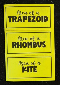 Area of a Trapezoid, Rhombus, and Kite (Geometry Foldable)