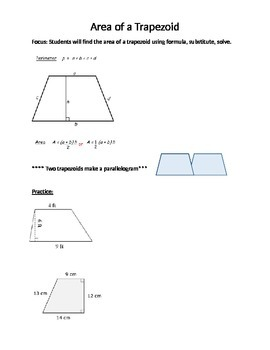 Area of a Trapezoid notes