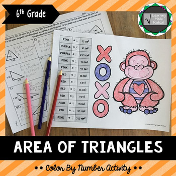 Valentine's Day Area of Triangles Color By Number Activity