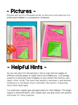 Area of a Triangle Foldable Activity With Formula Options