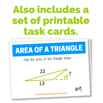 Area of a Triangle Task Cards and Boom Cards™