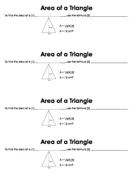 Area of a Triangle Guided Notes