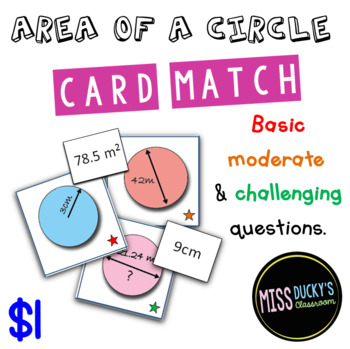 Area of a Circle Matching Activity