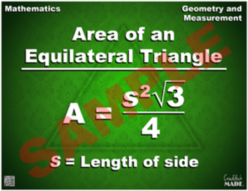 Area of an Equilateral Triangle Formula Math Poster