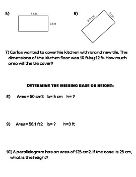 Area of rectangle and parallelograms (notes/practice)