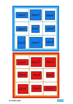 Area of Shapes Math Lotto Game, Autism, Special Education