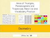 Area of triangles, parallelograms and trapezoids Match Up and Vocabulary