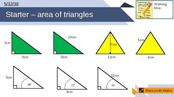 Area of triangles, trigonometry lesson