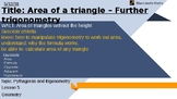 Area of triangles, trigonometry lesson