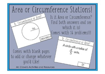 Circles: Area or Circumference? Stations Activity