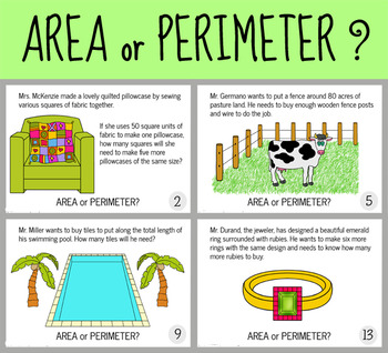 area or perimeter task cards powerpoint real life situations by