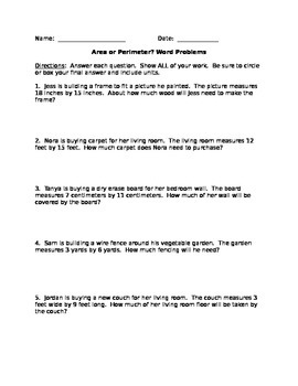 Area or Perimeter Word Problems