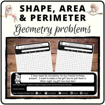 Area perimeter and shape problem solving tasks