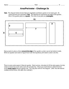 Area + perimeter mini-performance task challenge, grades 3-5