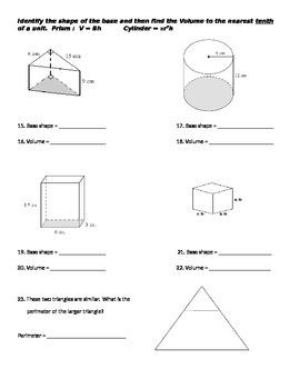 Area, perimeter, volume quiz