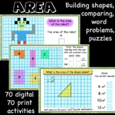 Area, rectangles, rectilinear shapes, right triangles, word problems, puzzles