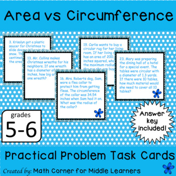 Area vs. Circumference Task Cards