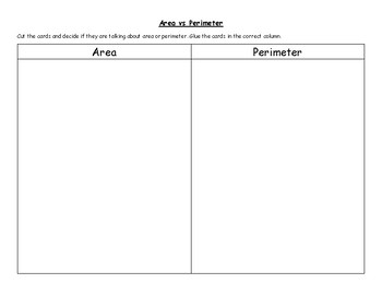 Area vs Perimeter Matching activity