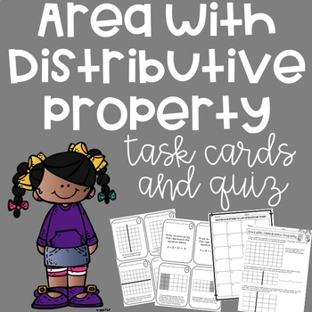 Area with Distributive Property Task Cards and Quiz
