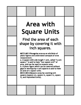 Area with Square Units - 3.MD.5 & 3.MD.6 Measure Areas by Counting Unit Squares