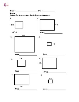 Area with squares and rectangles  Common Core Math Worksheets