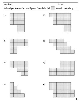 Área y perímetro usando cuadrados - blanco y negro TEKS 3.6C & 3.7B