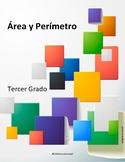 Área y perímetro usando cuadrados - blanco y negro TEKS 3.