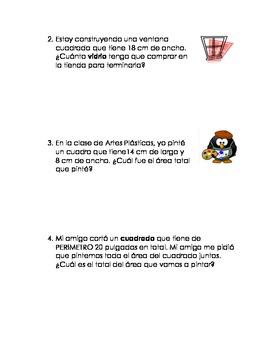 Area y perimetro math word problems in spanish