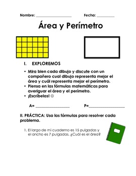 Area y perimetro math word problems in spanish