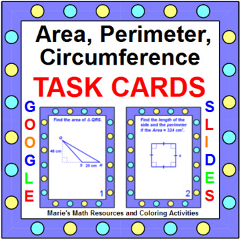 Area,Perimeter, Circumference of Basic Shapes - TASK Cards
