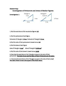 Areas and Perimeters of Similar Figures Investigation