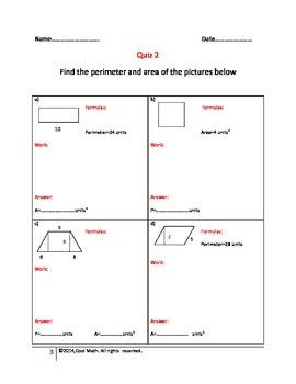 Areas and perimeters of quadrilaterals-Quizzes