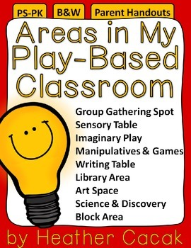 Areas in My Play-Based Classroom Family Engagement Handouts {Pre-K / Head Start}