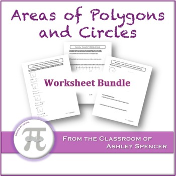 Areas of Polygons and Circles Worksheet Bundle