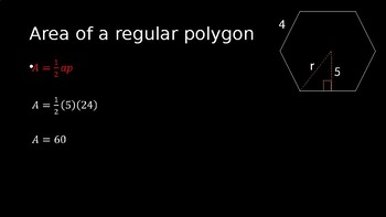 Areas of Regular Polygons - PowerPoint Lesson (9.4)