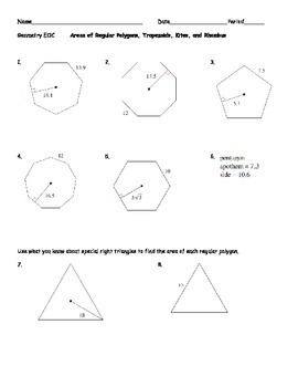 Areas of Regular Polygons, Trapezoids, Kites, and Rhombus