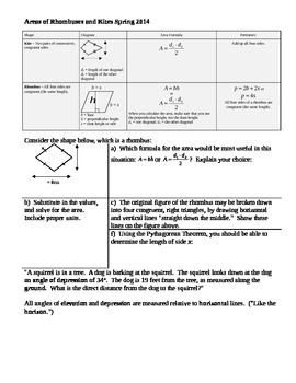 Areas of Rhombuses and Kites Spring 2014 student notes