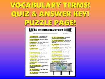 Areas of Science Vocabulary Quiz and Study Guide (First Day)
