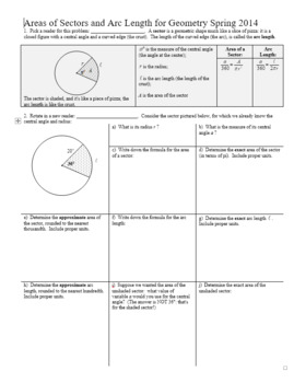 Arc Length And Area Of A Sector Activity Teaching Resources