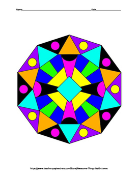 Areas of Triangles and Quadrilaterals Color by Number