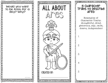 Ares - Greek Mythology Biography Research Project - Interactive Notebook