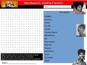 Aretha Franklin Wordsearch Black History Month Keywords Settler Homework Cover