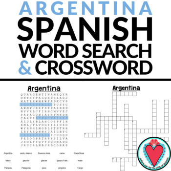 Argentina Crossword Puzzle & Word Search